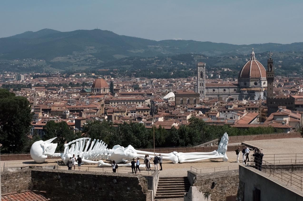 panorama veduta firenze con scheletro | La Terrazza di Michelangelo