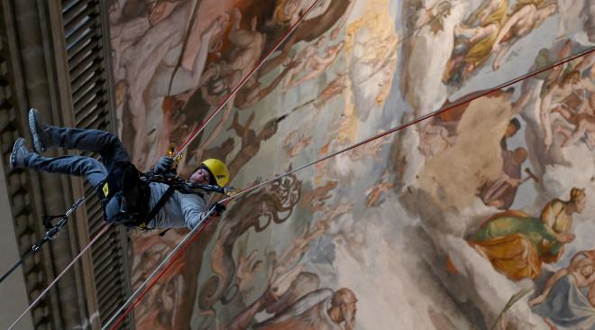 I controlli dell'interno del Tamburo della Cupola del Brunelleschi a Firenze