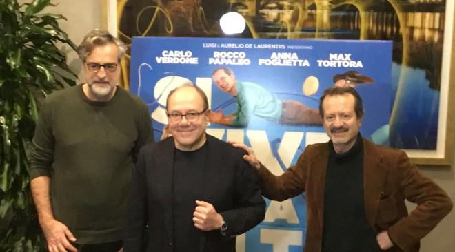 """Carlo Verdone presenta il suo ultimo film """"Si vive una volta sola"""" con Papaleo, Tortora, Foglietta"""