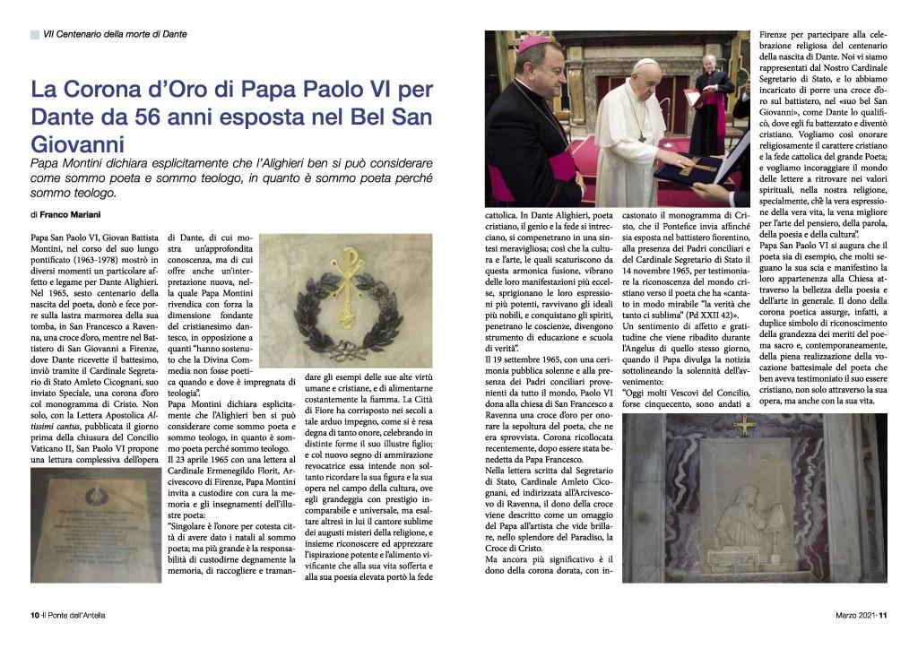 Pagine sulla Corona d Oro Papa Paolo VI per DANTE ALIGHIERI - giornale Il Ponte dell Antella-page-001